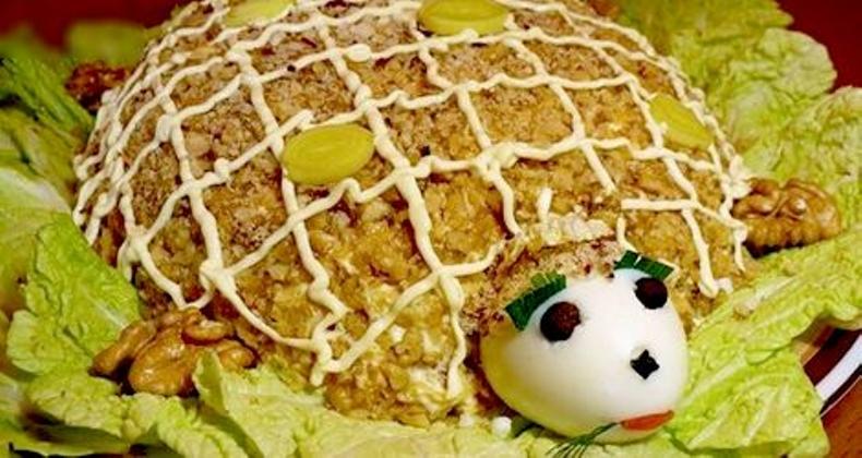 Салат черепаха пошаговый рецепт с фото с виноградом